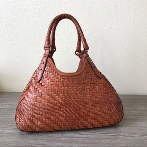 Authentic Cole Haan 'Genevieve' Woven Leather Tote